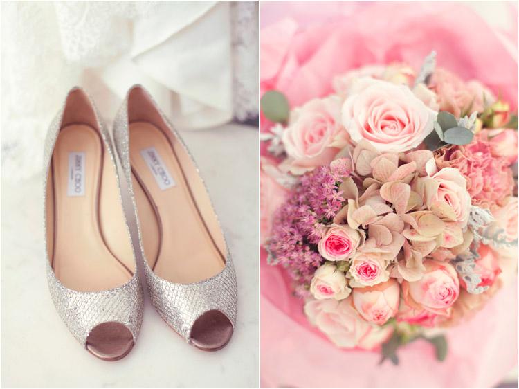 photographie mariage, les préparatifs de la mariée, chaussures jimmy choo, bouquet de la marié par Gali M