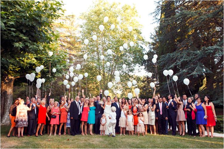 lancements de ballons au mariage