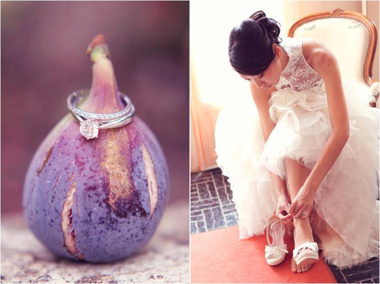 Elena Tihonovs, la mariée mets les chaussures cymbeline, la photo des alliances originale