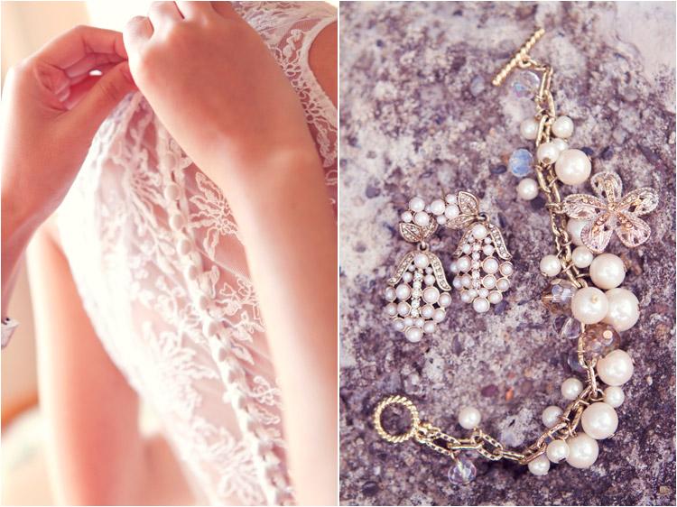 photographe du mariage dans le tarn, les boutons sur la robe de la mariée, le bracelet et les boucles d'oreille, les détails délicats