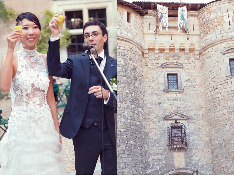 photographe mariage, chateau Mauriac, les mariés ouvrent le vin d'honneur