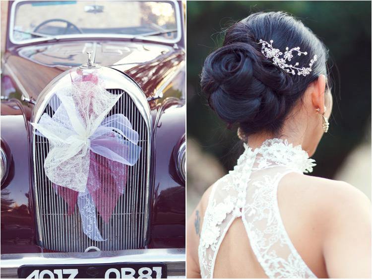 coiffure de la mariée, la chignon basse décore d'une peigne