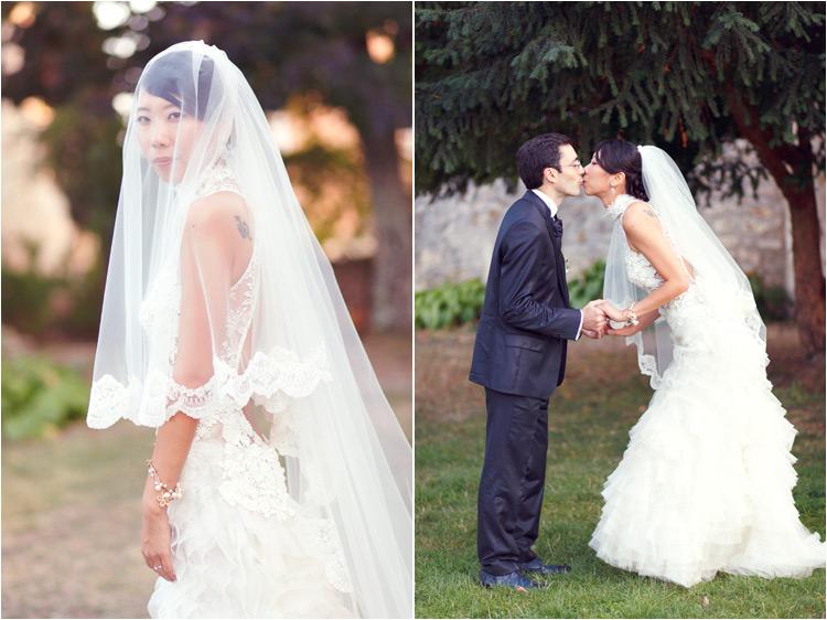 la mariée porte le robe Cymbeline et la voile