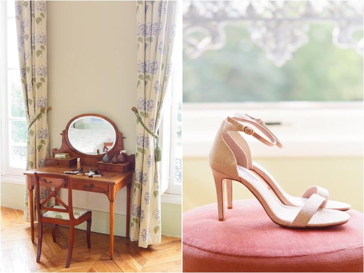 Préparatifs de la mariée, les chaussures et les accessoires