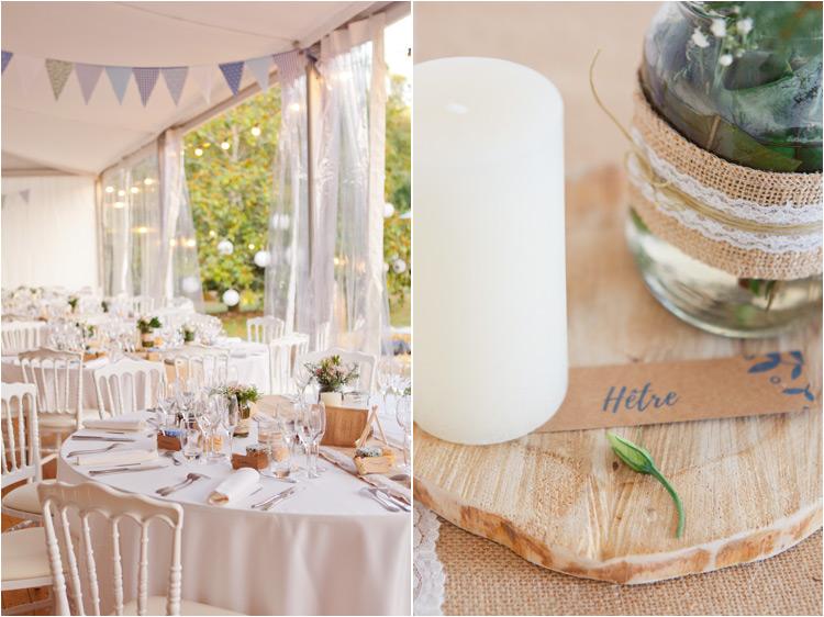 Decoration de mariage blanc: bougies, bois et fleurs